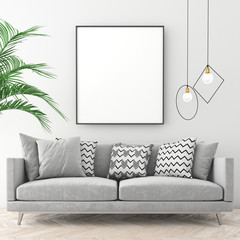 Mock up poster frame in scandinavian interior with light color wall and old parquet. 3d render