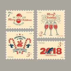 Merry Christmas and Happy New Year 2018 retro postage stamp with Santa Claus,
