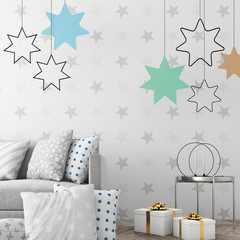 Mock up the christmas interior with xmas surroundings, 3d render