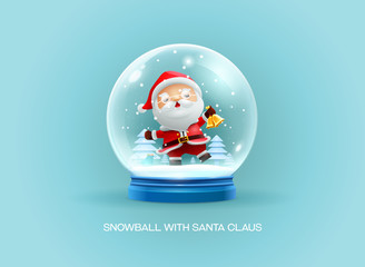 snow globe ball with santa claus merry christmas happy new year
