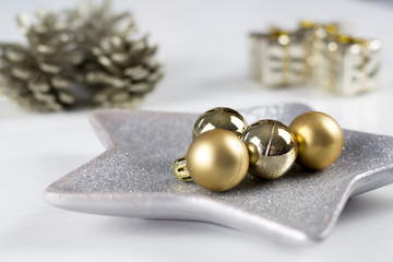 White Christmas gift boxes and decoration