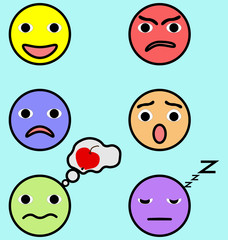 Emotion faces set image