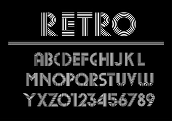 Retro alphabet and font  uppercase letters. Trendy industrial inline font for creative design, advertising, typographic. Vector typography Illustration