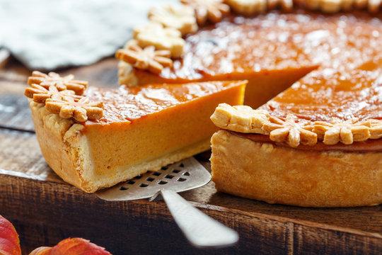 Piece of traditional American pumpkin pie.