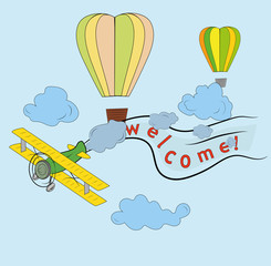 airplane flying in the sky, balloons, words are welcome. concept of travel day, vector art and illustration.