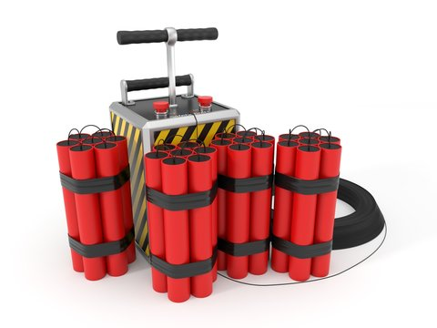 dynamite pack and detenator. 3d illustration.