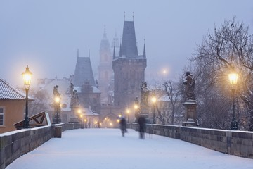 Romantic wintertime on the Charles Bridge