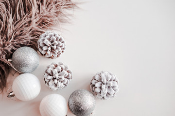White Christmas Background Faux Fur Rose Gold Clock Frosty Pine