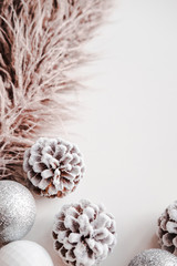 White Christmas background. Frosty pine cones, white, glitter, silver colored decoration balls. Minimalist style. Copyspace for text, overhead, vertical