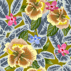 Tropical seamless floral pattern.Hand-drawn floral background for printing on fabric, clothing, home textiles, wallpaper, gift wrapping. Liberty style.