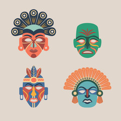 Set of colored ethnic masks.