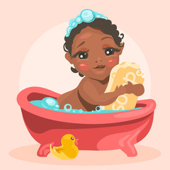 Adorable, cute baby in the bathtub with bubbles hugs the soap bar. Face with funny expression. Black (african american) baby girl, child, kid. Bath time illustration with gummy duck. Cartoon, flat