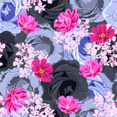 Seamless vintage pattern with blue roses and lovely pink flowers. Hand-drawn floral background for textile, cover, wallpaper, gift packaging, printing.Romantic design for calico.