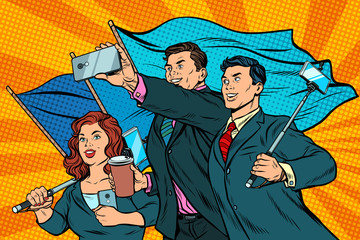 businessmen with smartphones and flags, poster socialist realism