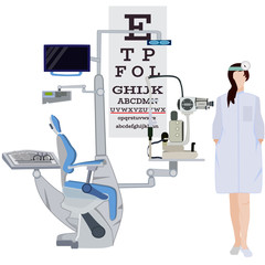 Ophthalmologist and ophthalmic equipment vector flat illustration