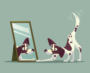 Surprised curious dog character looking at mirror. Vector cartoon illustration