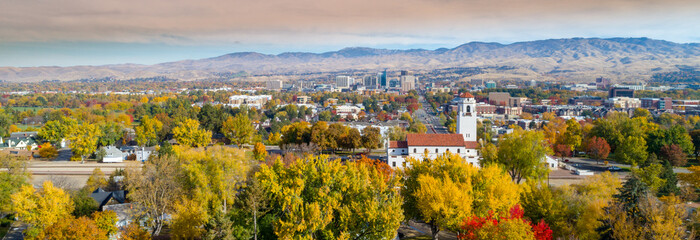 Boise City skyline with train depot and fall trees