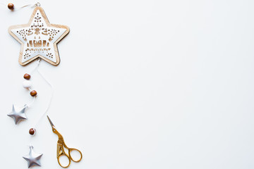 Christmas decorations on white background. New Year frame with free copy space. Flat lay, top view