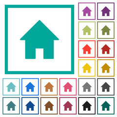 Home flat color icons with quadrant frames