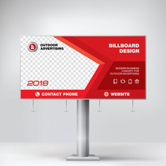 Billboard banner, modern geometric design for outdoor advertising, red template for posting photos and text, graphic background vector