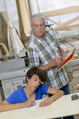 Craftsman teaching his apprentice