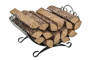 Firewood stack in cast iron grate, 3D rendering