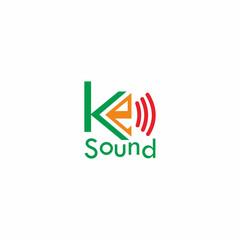 K Letter Sound Logo Vector