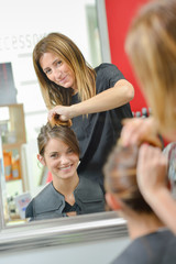 Girl at the hairdresser