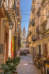 Fotorolgordijn Palermo Palermo, Italy. View of one of the most picturesque streets of the old town