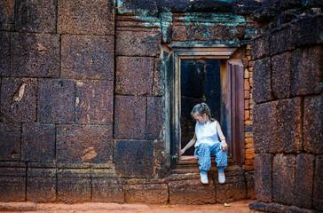 Girl in Banteay Srei temple