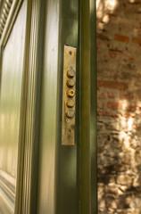 Green wooden door with a lock