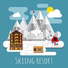 Flat design panoramic landscape of skiing resort.