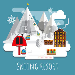Flat design panoramic landscape of skiing resort.