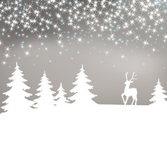 Christmas background. Winter landscape with deer.