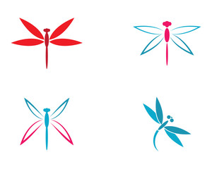Dragonfly logo template vector icon illustration design