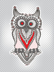 vector children's hand-drawing funny owl on the background in small circle