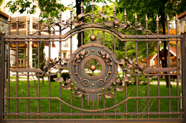 Fragment of wrought iron fence gate