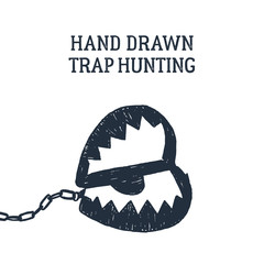 Hand drawn hunting trap textured vector illustration.