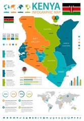 Kenya - infographic map and flag - Detailed Vector Illustration