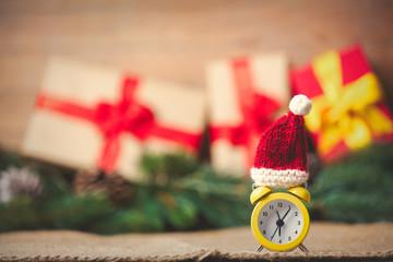 Alarm clock with Santa Claus hat