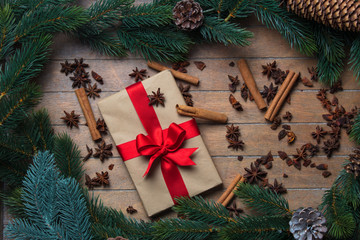 Christmas gift and cinnamon with star anise