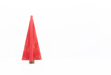 Stylized Wooden Red Christmas Tree against White