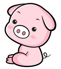 Pig character sits sideways. Asian Zodiac Isolated Pork Vector Illustration.