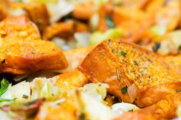 Roasted Sweet Potatoes Closeup Horizontal