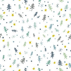 Seamless Christmas pattern with conifer trees, stars and snowflakes