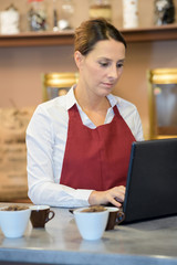 Cafe worker using laptop