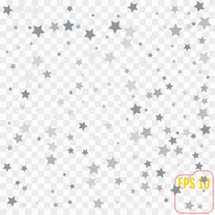 Silver falling confetti stars. Luxury festive background. Silver abstract texture on a transparent  background. Element of design. Vector illustration