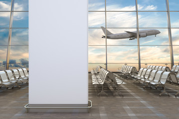 Airport departure lounge. Blank wall airplane on background. 3d illustration