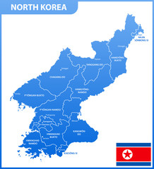 The detailed map of the North Korea with regions or states and cities, capitals, national flag