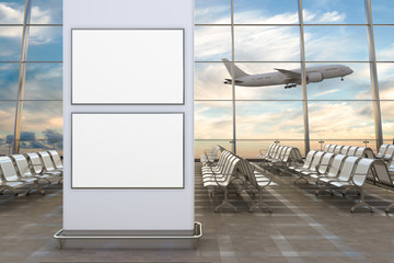 Airport departure lounge. Two blank horizontal posters and airplane on background.  3d illustration